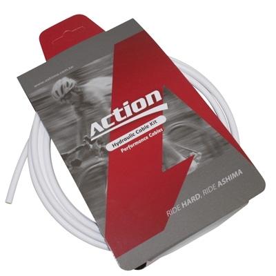 Durite de frein VTT hydraulique Ashima Action 2500 mm Blanc (kit avec banjos)