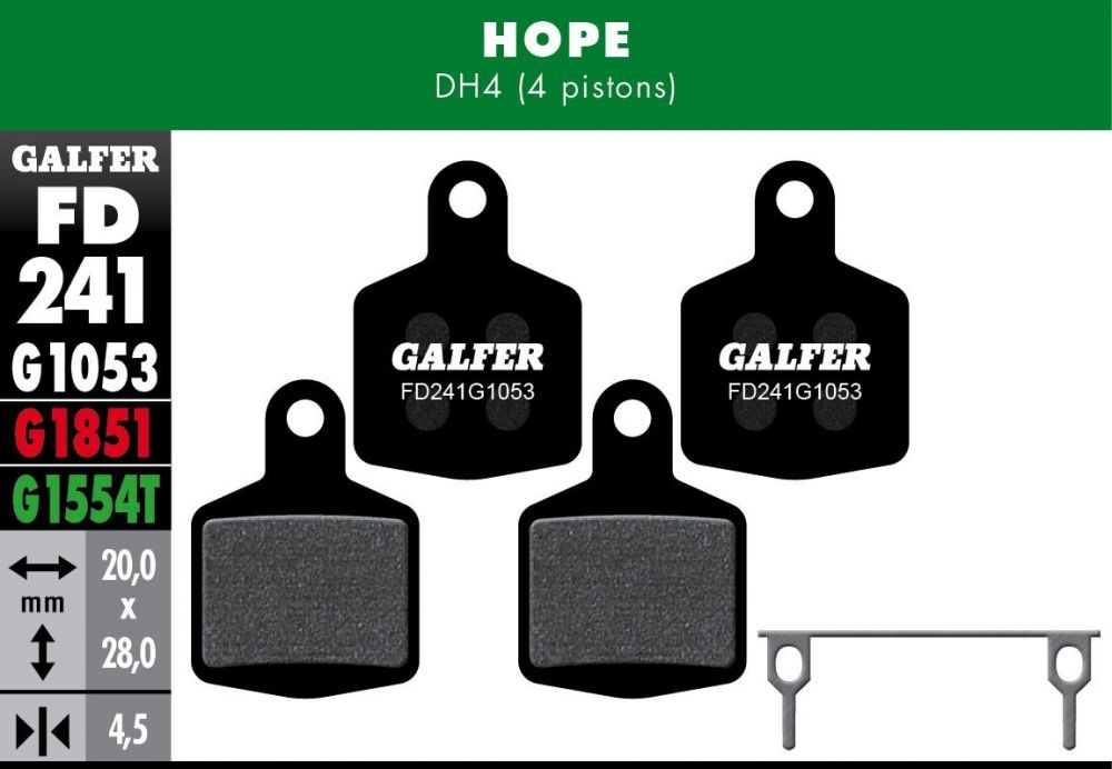 Plaquettes de frein Galfer Hope DH4 4 pistons Semi-métallique Standard Noir (x4)