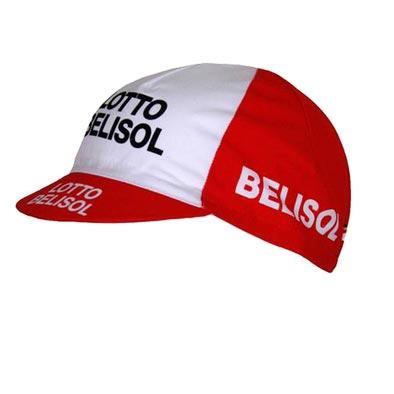 Casquette vélo équipe Lotto Belisol Rouge/Blanc
