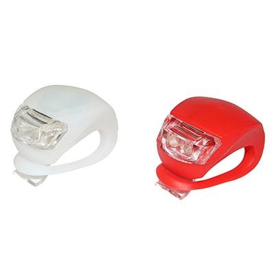 Kit éclairage vélo AV+AR LED fix. cintre et tige de selle silicone Rouge Blanc