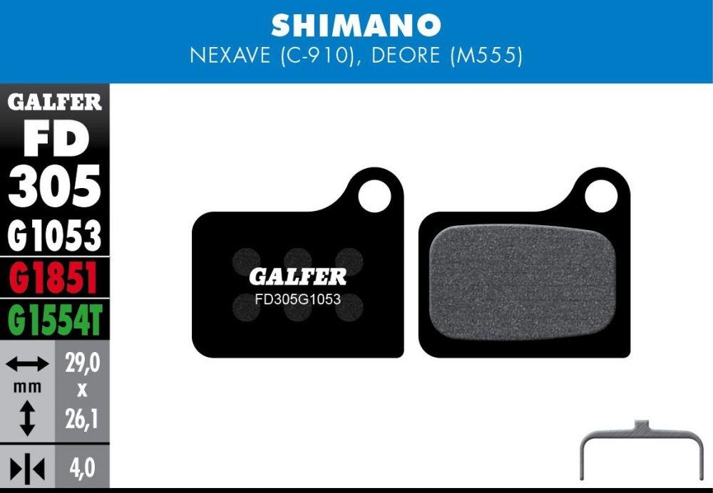 Plaquettes de frein Galfer Shimano Nexave / Deore Semi-métallique Standard Noir