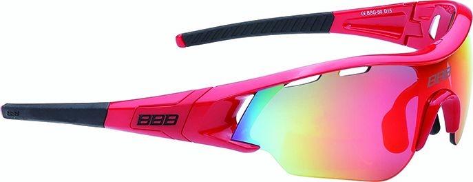 Lunettes BBB Summit Rouge brillant, logo rouge, verres rouges 5013 - BSG-50