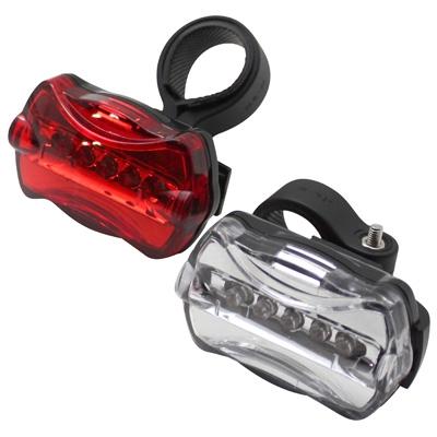 Éclairage vélo AV+AR LED à piles Fix. sur cintre et tige de selle