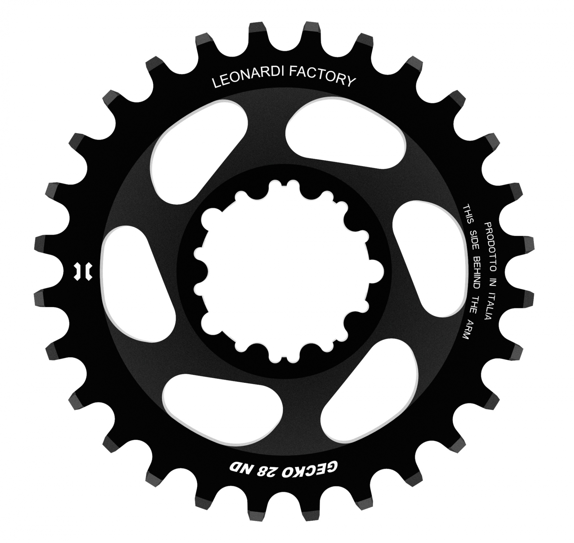Plateau narrow/wide Leonardi Factory Gecko SRAM DM GXP Eagle 28 dents offset 6 mm Noir