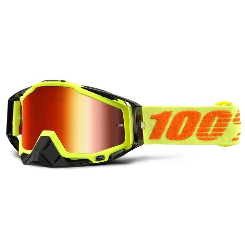 Masque 100% Racecraft Attack Yellow Mirror red lens jaune/orange