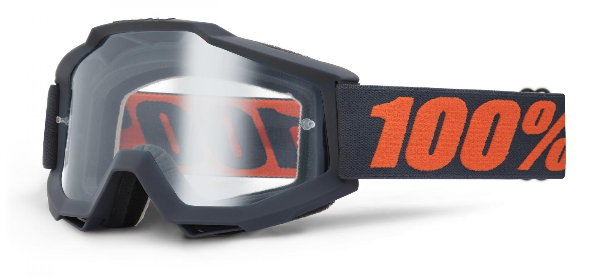 Masque 100% Accuri Gun Metal écran clair (Anthracite/Orange)