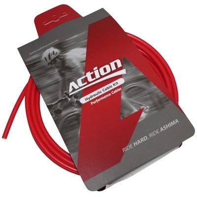 Durite de frein VTT hydraulique Ashima Action 2500 mm Rouge (kit avec banjos)