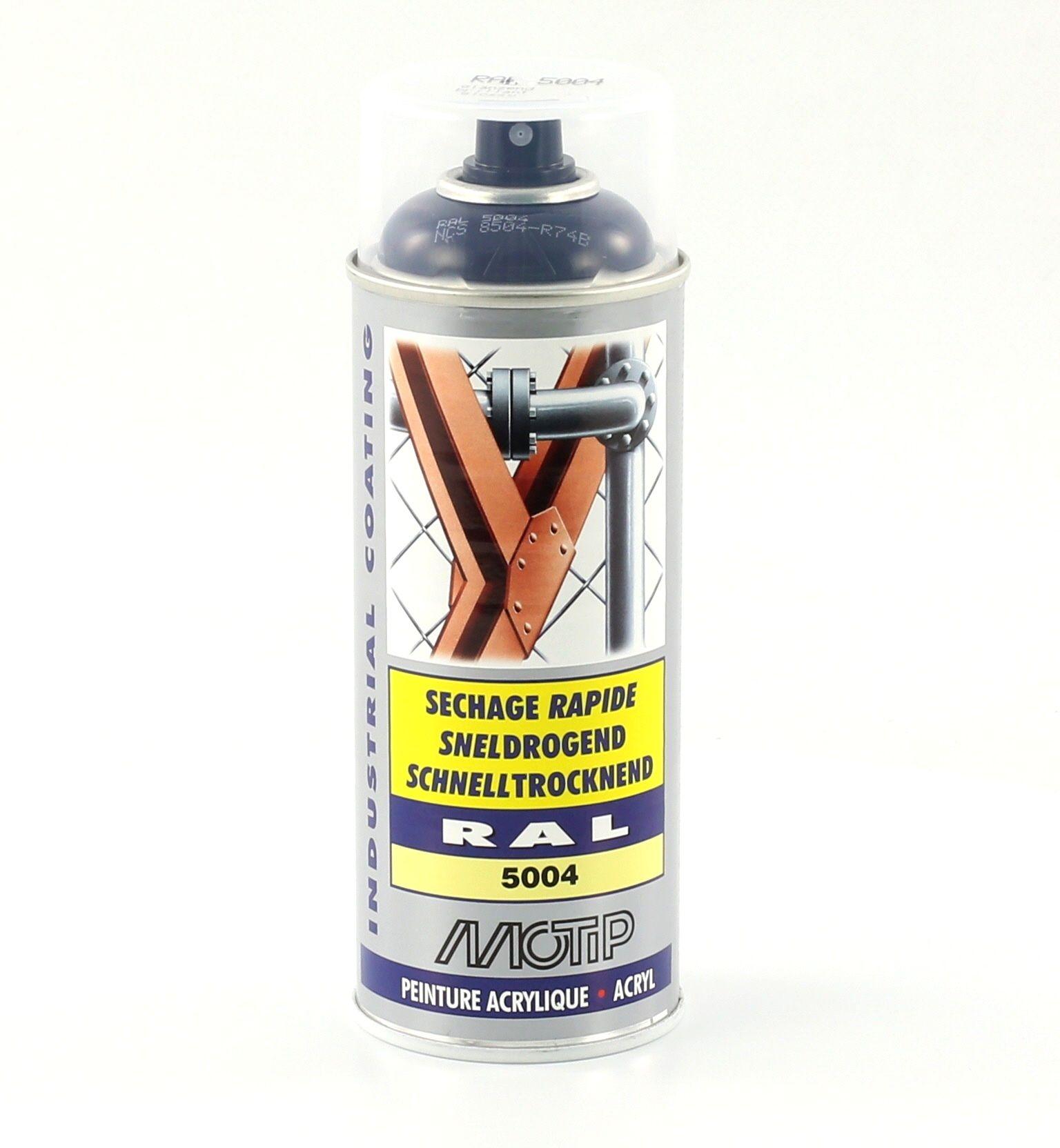 Bombe de peinture MoTip bleu noir brillant acrylique RAL 5004 400 ml M07133