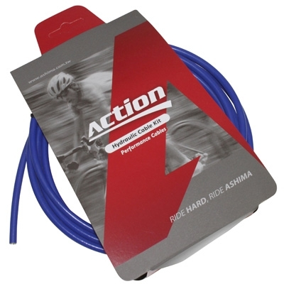 Durite de frein VTT hydraulique Ashima Action 2500 mm Bleu (kit avec banjos)