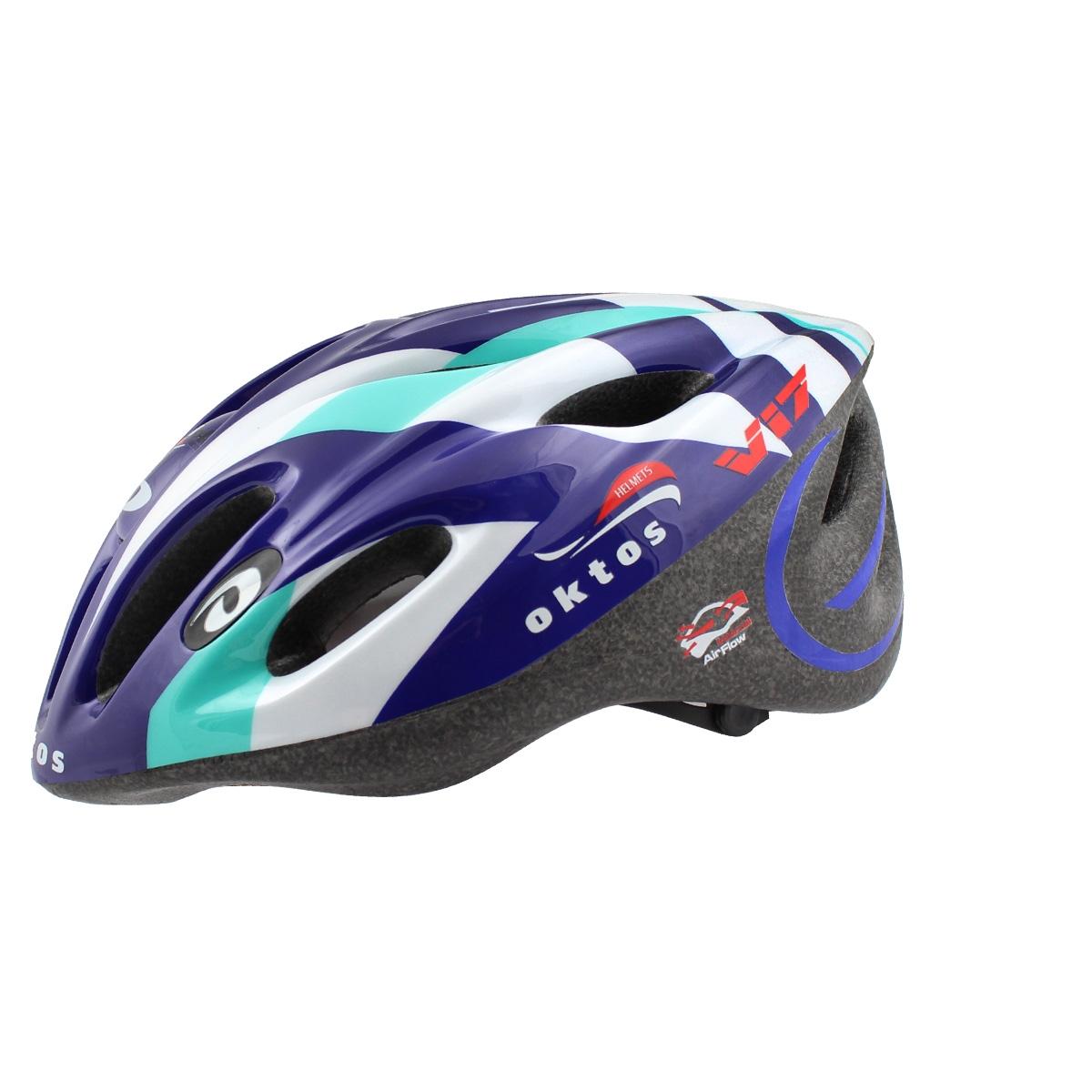 Casque vélo Adulte Oktos V17 Bleu/Blanc/Vert - M