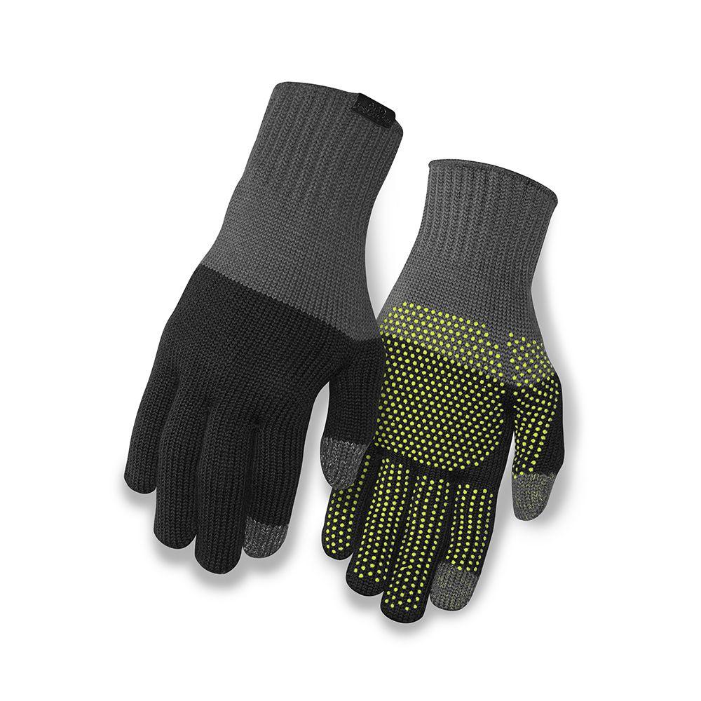 Gants longs hiver Giro Knit Merino Wool Noir/Gris - S/M