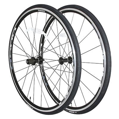 Roue Shimano R501 + pneus Maxxis Dolomites 700 x 23C (Paire) Noir